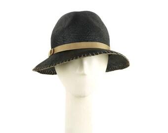 Womens Straw Hat, Black Hat, Straw Fedora Hat, Womens Hat, Summer Hat for Women, Ladies Sun Hat, Womens Summer Hat, Beach Hat, Golf Hat