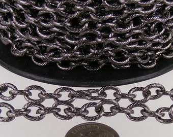 5 ft of Gunmetal plated oval texture cable chain - 8x6mm - unsoldered link