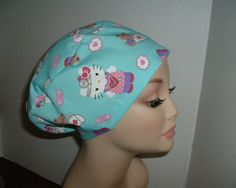 Hello Kitty Dr Nurse Euro European OR Surgical Scrub Hat CRNA CNOR Pediatric Md