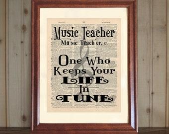 Music Teacher Dictionary Print, Music Teacher Quote, Music Teacher Gift, Music Room Wall Art, Music Teacher Print on 5x7 / 8x10 Canvas Panel