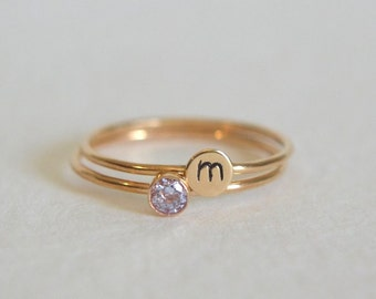 Set Two Gold Filled Light Amethyst Rings, Personalized Ring, Initial Ring, 14k Gold Ring, Dainty Ring, Stackable Ring, Light Amythest Ring