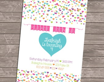 Custom Rainbow Confetti Heart Invitation - Birthday - Bridal Shower - Valentine's Day - Party