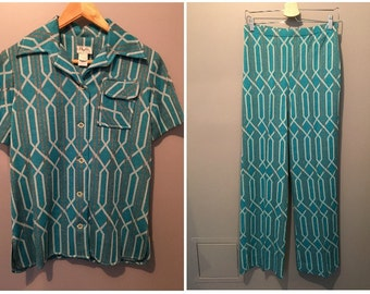 Vintage 1970s Phyllis Dallas Two Piece Pant Suit Set - Button Up Top and Pants - Size 10 - NWT - New with Tag