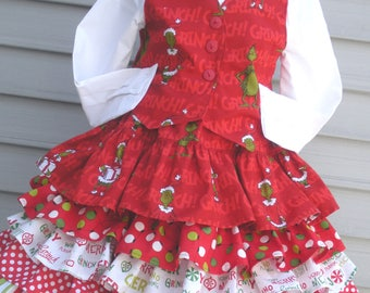 Ready to Ship Custom Boutique Girl Grinch Christmas Vest and Skirt Will Size Size 5 or 6
