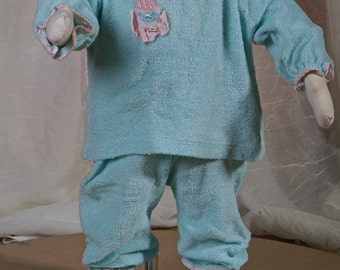 1960s infant terry cloth 4 piece clown set. Blue, cotton, elastic