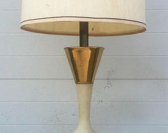 Gold Cream and Brass Abstract Table Lamp