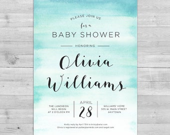 Watercolor Baby Shower Invitation | Gender Neutral Baby Shower Invitations | Baby Shower Invitation Boy | Coed Baby Shower Invitation Girl