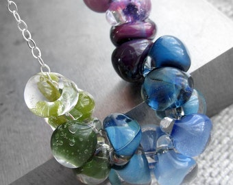 Ombre Glass Drop Necklace - Gradient Lilac, Purple, Navy Blue, Sky Blue, Aqua, Green Glass Necklace, Rainbow Lampwork Glass Bead Necklace