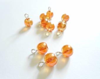 Transparent Orange Metallic Druk  Dangle Beads