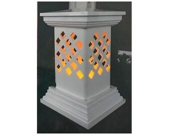 Everlasting short flat base lantern, tabletop lantern handmade PVC outdoor tabletop lattice lantern for LED or flameless candles,