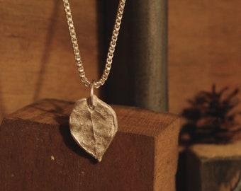 Salal Leaf Vein Necklace- fine silver