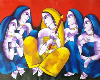 Modern Indian art, Village art, Woman painting, Traditional painting, Figurative art, Woman art, Contemporary art, Hindu art, Asian decor
