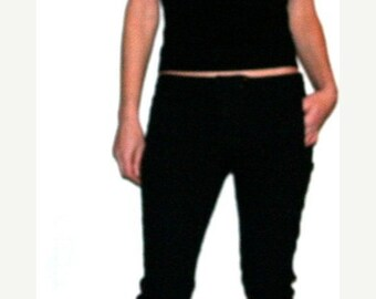 "Moving Sale Sweetest Vintage Black Embroidered Cotton Capris- Size 34"" Waist"