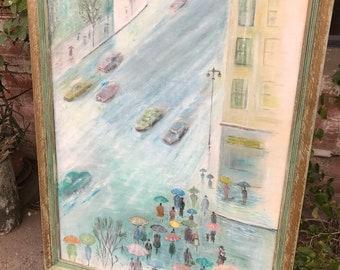 Vintage Pastel Painting of a Street Crossing in Paris