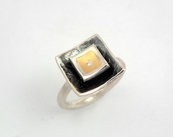 Gold and oxidized silver, two level, two tone square ring with small diamond, Modern geometric ring, Artisan ring, Patina ring, Gift for her