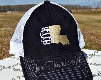 LADIES State Monogram Mesh Back Baseball Cap Hat Mom 50 States Bride Bachelorette Summer Beach Trucker Hat Louisiana Texas Carolina Alabama