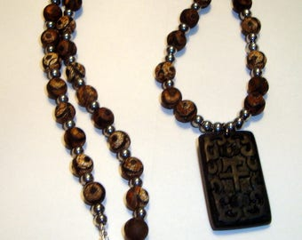 Black and Grey Hematite Beads, Silver Beads and Olive Wood Beads with Black Rectangular Pendant Necklace, Handmade, BOHO, Nature, Women