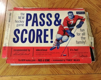 Vintage Pass & Score Hockey Board Game Frank Mahovlich Punch Imlach Original Box 1960s Instructions Educational Family Fun (Pieces Missing)