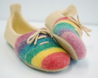 Felted slippers, wool shoes, home shoes, wool clogs with rainbow stripes  MADE TO ORDER, any color and size