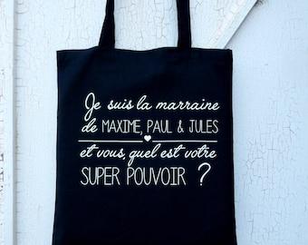 """Tote Bag """"Godmother super power"""" / super godmother / personalised totebag"""