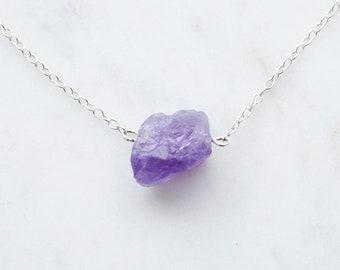 Raw Amethyst Necklace - Amethyst Gemstone Necklace - Solo Amethyst Pendant - Amethyst Nugget Necklace