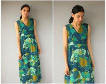 Vintage 1960s Maxi Dress • 60s Dress • 1960s Hawaiian Dress • 60s Maxi Dress • 1970s Maxi Dress • 70s Barkcloth Dress  -  (medium)