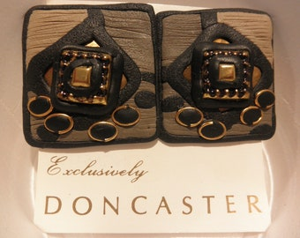 DONCASTER Clip Earrings - Hand Crafted -  MSRP 35.00 - On original sales Card.