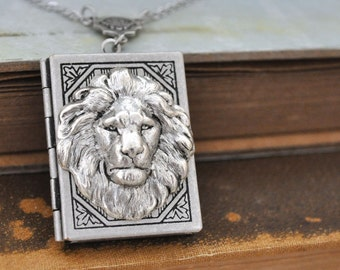 lion necklace, silver book locket necklace, THE BRAVE ONE, antiqued silver book locket necklace with long chain