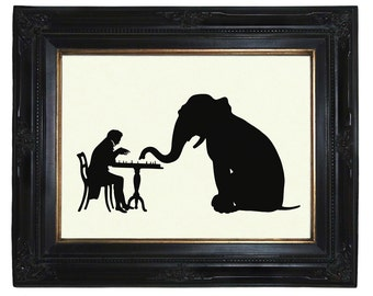 Elephant Art Print Silhouette Gentleman plays Chess with Elephant - Victorian Steampunk Art Print Paper Cut
