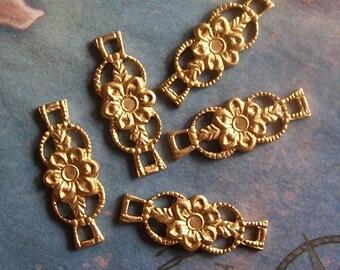 6 PC Raw Brass Nouveau/Deco Link Jewelry Finding - E0117