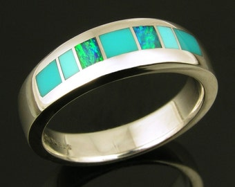 Turquoise Ring with Australian Opal and Gem Silica Inlay in Sterling Silver, Opal and Turquoise Ring, Silver Turquoise Ring with Opal