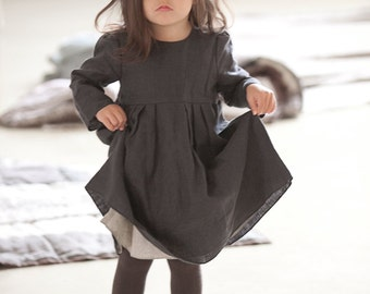 Linen dress Girls clothes Gray linen dress Boho dress Girls linen clothing Toddlers dress