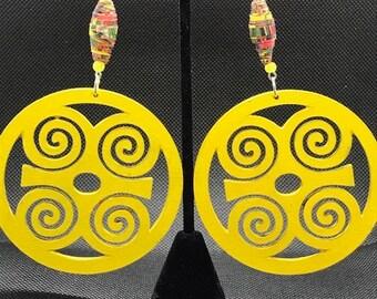 Large Yellow Dwennimmen Circle Earrings