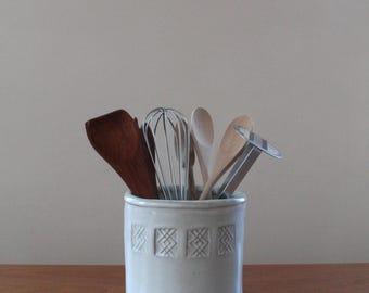 Stamped Jar // Ceramic Utensil Jar // Housewarming Gift // White Utensil Holder // Kitchen Storage // Utensil Crock // Patterned Ceramic Jar