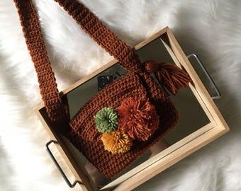 KIDS Pom-Pom Cross Body Purse//Kids Crocheted Purse