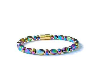 Rainbow Hematite Magnetic Bracelet, Pain Relief Jewelry