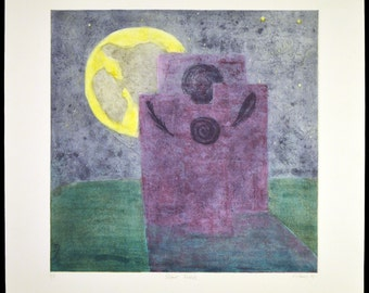 """Color intaglio print inspired by Stonehenge, England