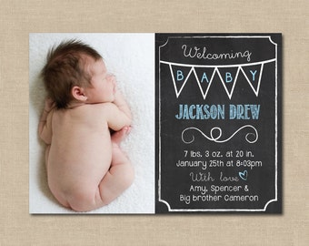Chalkboard Baby Announcement: Photo, Digital File