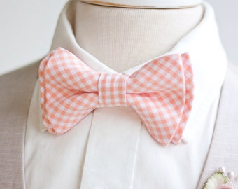 Bow Tie, Mens Bow Tie, Bowtie, Bowties, Bow Ties, Bowties, Peach Bow Tie, Groomsmen Bow Ties, Wedding Bow Ties, Ties - Peach Gingham