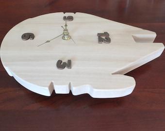 Star Wars Millennium Falcon clock, handmade poplar