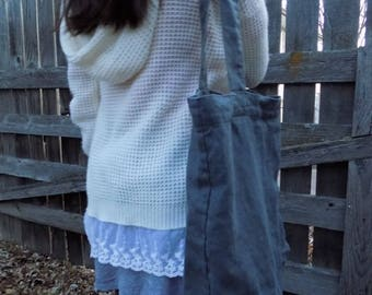 Handmade Linen Tote Bag / Beach Bag --- Dark Gray