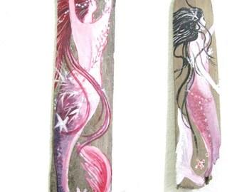 Two Original Hand Painted Mermaids - Pink- Decor for Girls- Fantasy Art