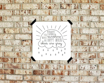 Printable You Are My Sunshine You Make Me Happy {8x8 and 10x10} INSTANT DOWNLOAD