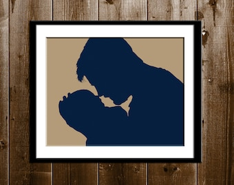 Custom Christmas Gift for New Dads, Custom Silhouette Portrait of Dad and Baby, Baby's First Christmas Father Son Gift, Silhouette Art Print