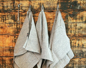 Soft Linen Hand Towel Linen Dish Towel Grey Striped Linen Kitchen Towel Natural Linen Towel Washed Linen Towel Kitchen linen towel Tea towel