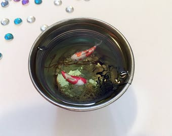 Miniature koi pond, red and orange polymer clay fish in miniature pond, miniature bucket, resin pond