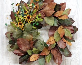 Rustic Magnolia Wreath, Summer Wreath, Magnolia Fall Wreath, Farmhouse Wreath, Year Round Wreath, Fall Wreath for Front Door, Magnolia Leaf