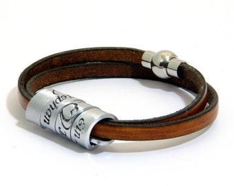 Wedding vows  inspired bracelet, leather &  aluminum engraved bracelet