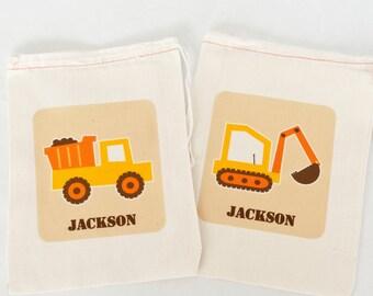 Truck Favor Bags,  Construction Party Favor Bags, Construction Personalized Favor Bags-Digger & Dump Truck, Dump Truck Backhoe Favor Bags