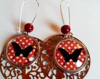 Earring dangle butterfly and matching Pearl cabochon